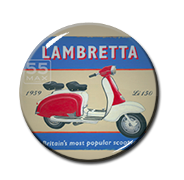 "Lambretta - Britain's Most Popular Scooter 1"" Pin"