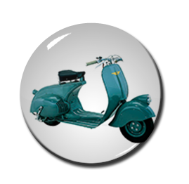 "Blue Vespa 1"" Pin"