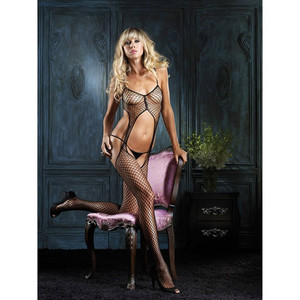 Black Fishnet Suspenders Bodystocking