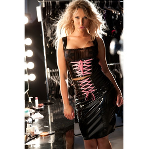 Black Vinyl Lace Up Hobble Skirt