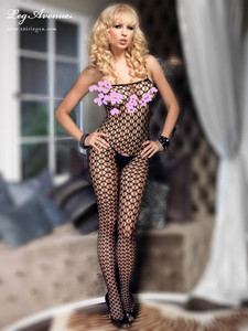 Black Seamless Fishnet Sleeveless Bodystocking