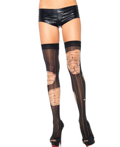 Distressed Pinstripe Thigh High Stockings