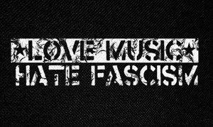 "Love Music, Hate Fascism 5.5x3"" Printed Patch"