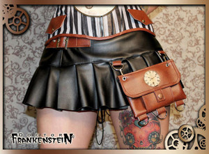 Black Steampunk Mini Skirt with Pouch
