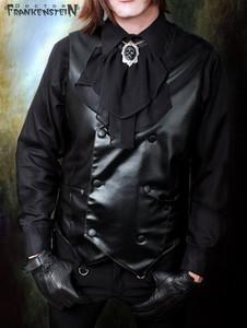 Black Vegan Leather Suit Antique Vest