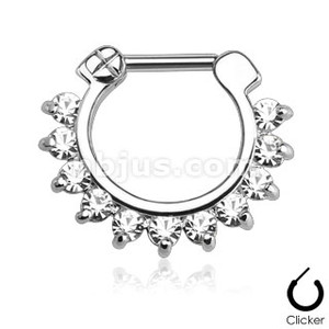 Single Line Pronged Gems Septum Clicker
