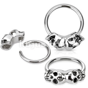 Twin Skull 316L Surgical Steel Captive Bead Ring