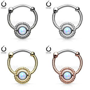 Roped Circle with Single Opal Septum Clicker