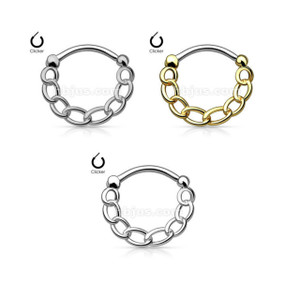 316L Surgical Steel Round Septum Clicker with Linked Chain