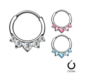 Five Paved Gem Round Septum Clicker