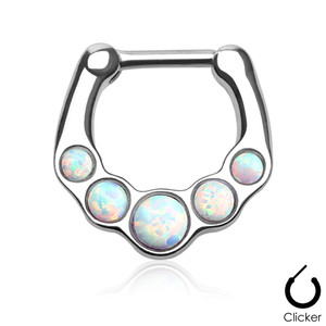 Five White Opal Gems Steel Septum Clicker