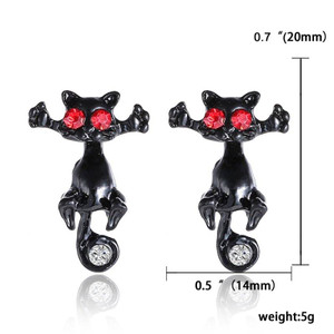 Black Cats with Red and Clear Gems Earrings