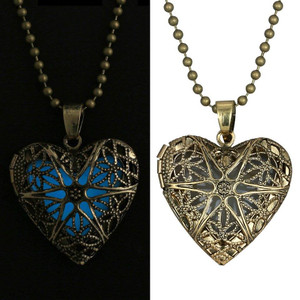 Heart with Glow in the Dark Stone Necklace