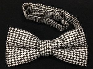 White and Black Small Checkered Bow Tie