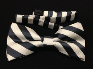 White and Black Stripped Bow Tie