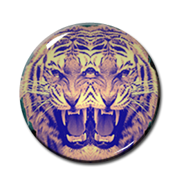 "Mirror Tiger Head 2.25"" Pin"