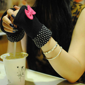 Knitted Fingerless Gloves with Bows