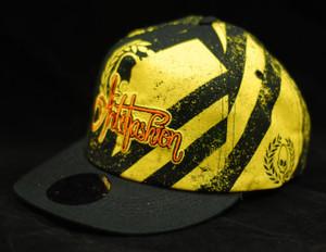 Baseball Style Black and Yellow Street Pattern Snapback Cap