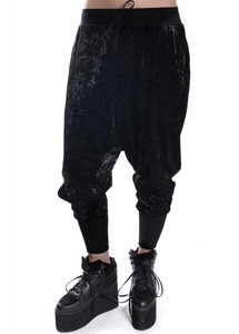 Widow - Panther Crushed Velvet Drop-Rise Sweatpants