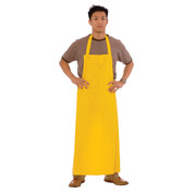 PVC/POLY APRON WITH TIES - YELLOW