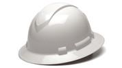 WHITE RIDGELINE FULL BRIM HARD HAT, 4-POINT SUSPENSION