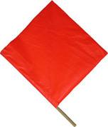 """ORANGE VINYL FLAG 18"""" WOOD"""