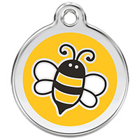 Red Dingo Enamel Tag Bumble Bee Yellow