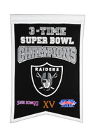 Oakland Raiders 3x Super Bowl Champs Banner