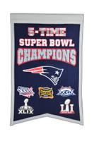 New England Patriots 5x Super Bowl Champs Banner