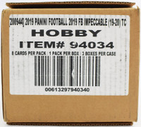 2019 Panini Impeccable Football Hobby 3 Box Case