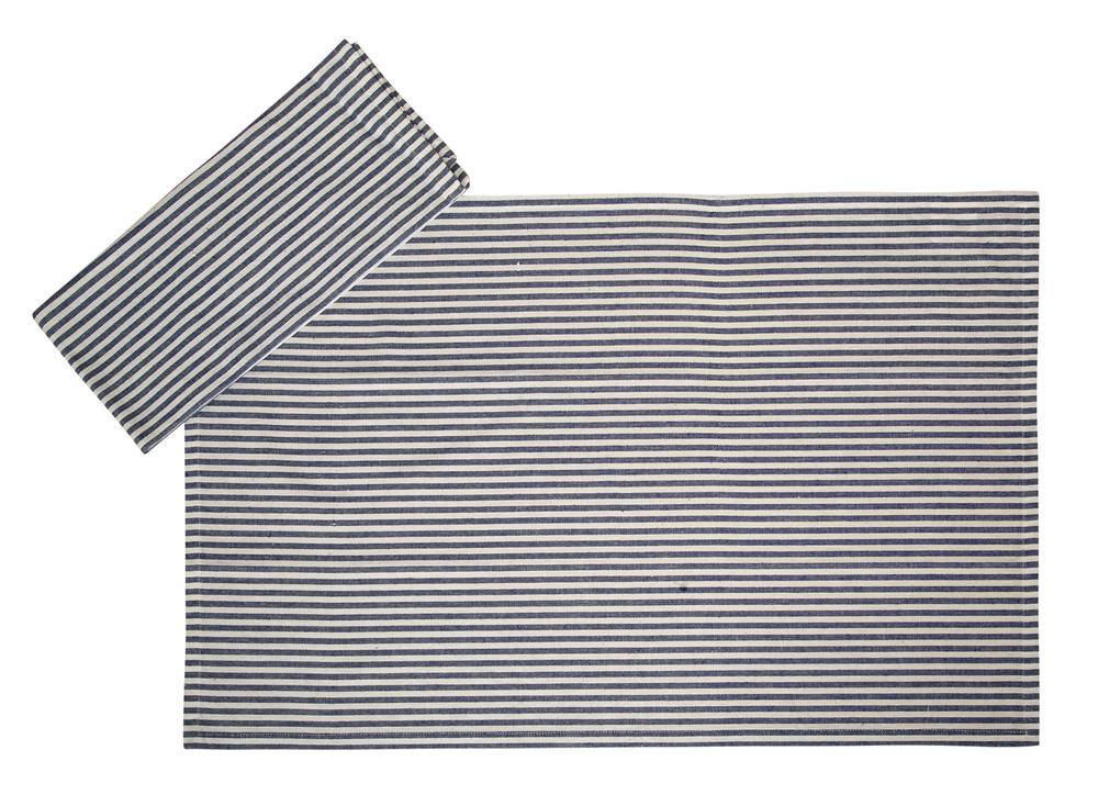 Cotton Kitchen Towels Stripes Blue & White 2/pack