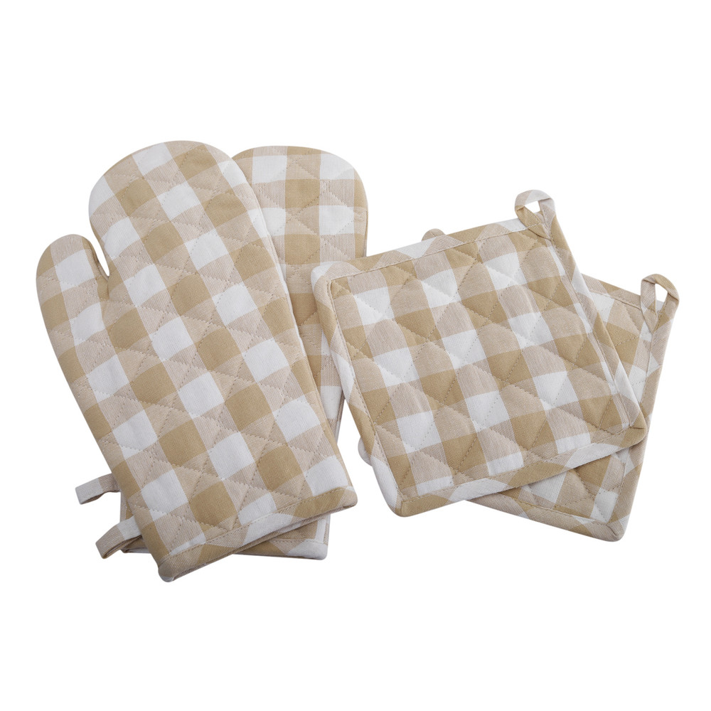1 Pot Holder 1 Oven Mitt 2 Kitchen Towels Set of 4 Gingham Check Kitchen Set