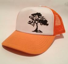 Koa Tree Mahalo orange trucker hat