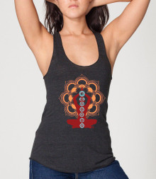 Chakras Design on women's black Racer Back Tank