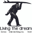 Sasquatch Surfer. Living the Dream. Design