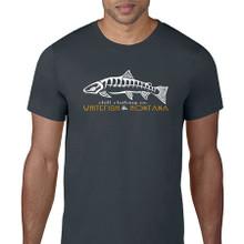 Fish Skeleton Logo T Shirt. Smoke Grey