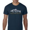 Fish Skeleton Logo T Shirt. Navy Blue