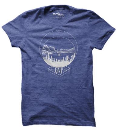 Wild Goose Island, Glacier National Park T Shirt. Vintage Heather Blue