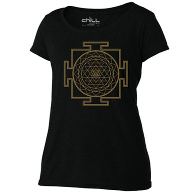 Sri Yantra women's Scoop black T Shirt