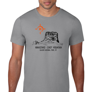 Chief Mountain Ninaistako men's t shirt grey