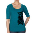 Owl Half Sleeve women's T shirt galapagos blue heather