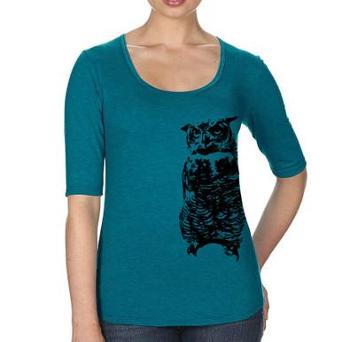 Owl Half Sleeve women's T shirt galapagos blue heather