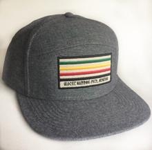 Glacier National Park, Flat brim, camp trucker hat.