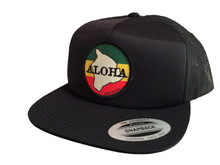 Aloha Trucker Hat Black Flat Brim