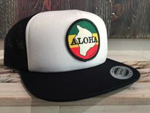 Aloha Trucker Hat White/Black Flat Brim