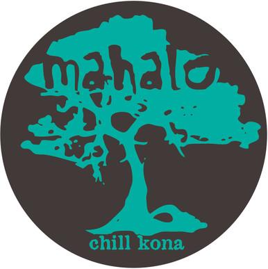 Mahalo Koa Tree Sticker Blue