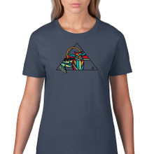 Owl geo women's t shirt. Color lake
