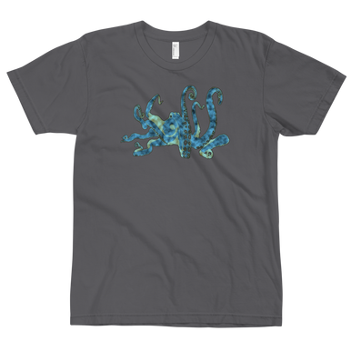 Blue Octopus t shirt, asphalt
