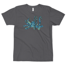 Blue Octopus t shirt, asphalt