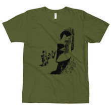 Easter Island Moai t shirt, olive